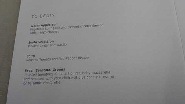 United First Class Menu 2
